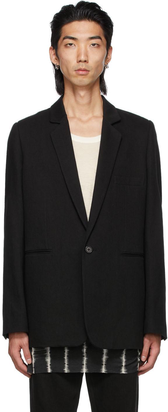 Black Cotton & Linen Single-Button Tailored Blazer