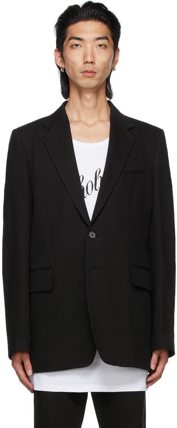 Black Cotton & Linen Tailored Blazer