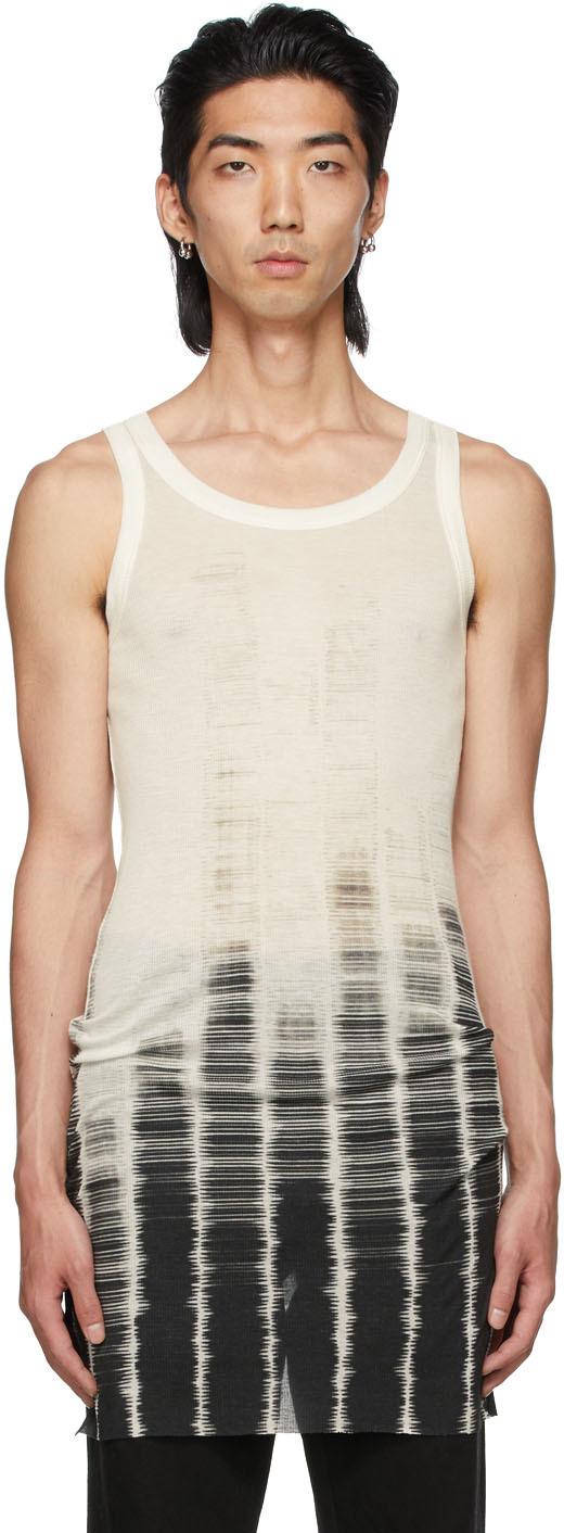 Off-White & Black Tie-Dye Tank Top