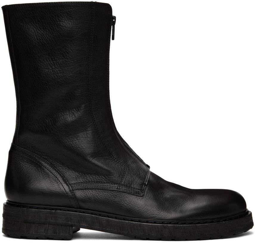 Black Front Zip Boots