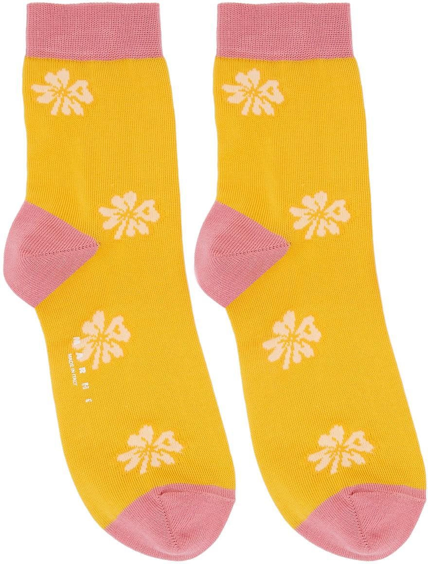 Yellow & Pink Clover Socks