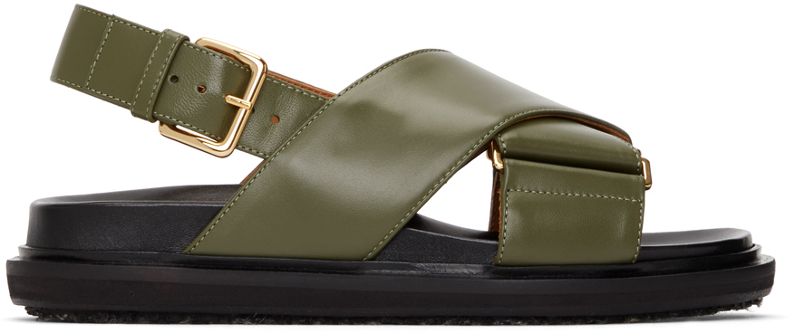 Black & Khaki Fussbett Sandals
