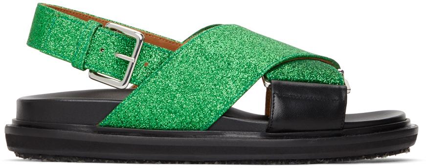 Black & Green Glitter Fussbett Sandals