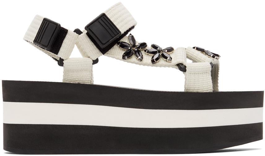 White Embellished Platform Sandals