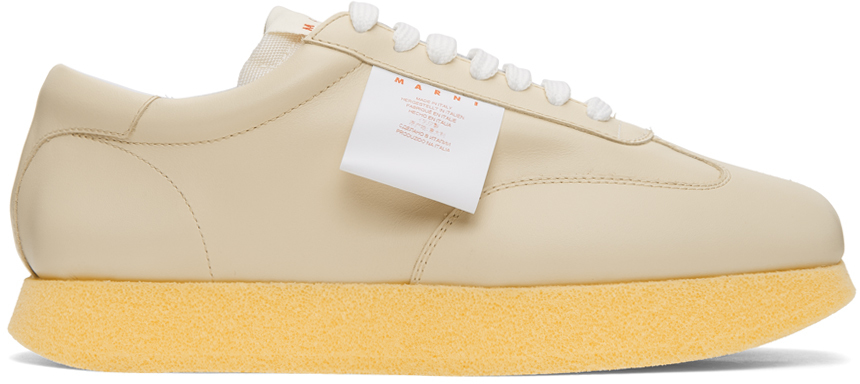 White & Beige Leather Light Sneakers