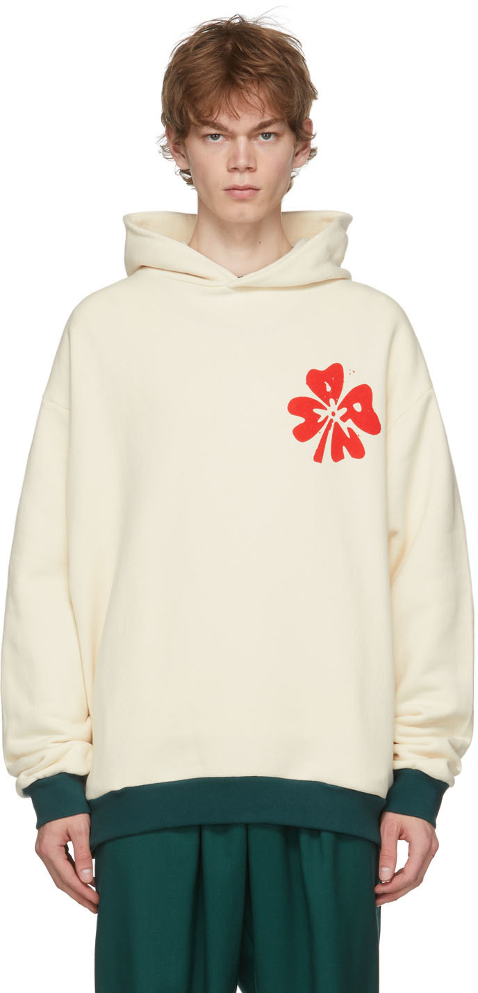 Marni Men's Blooming Graphic Pullover Hoodie In 00w08 Snow