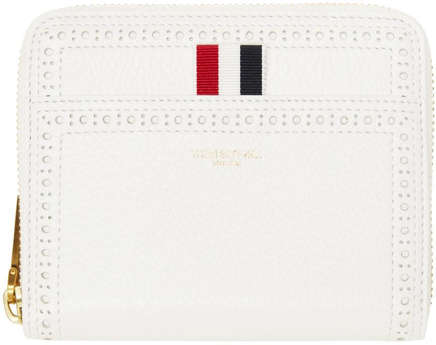 White Brogue Short Zip-Around Wallet