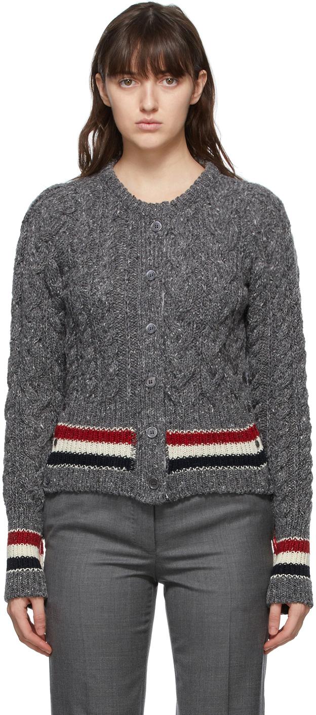Thom Browne SSENSE 独家线上发售灰色 RWB Stripe 开衫