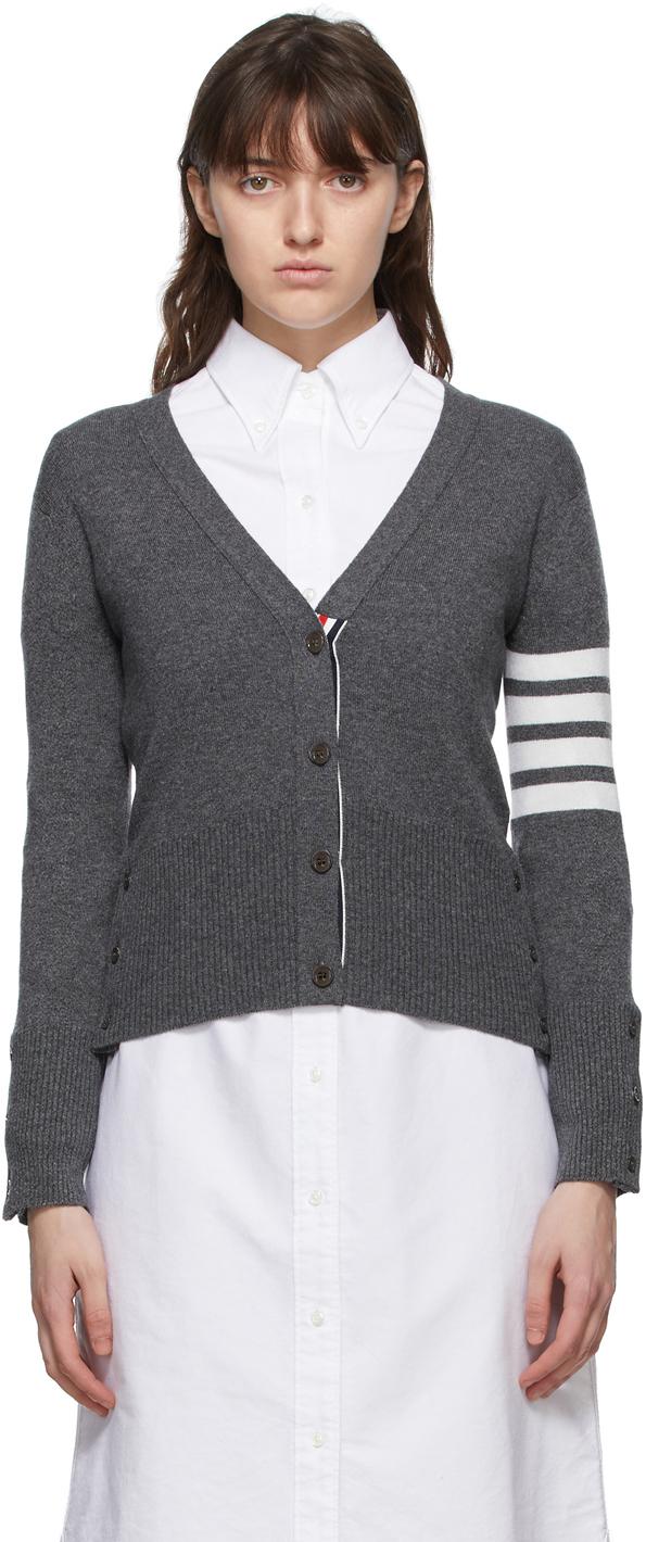 Thom Browne SSENSE 独家线上发售灰色 Classic 4-Bar 羊绒开衫