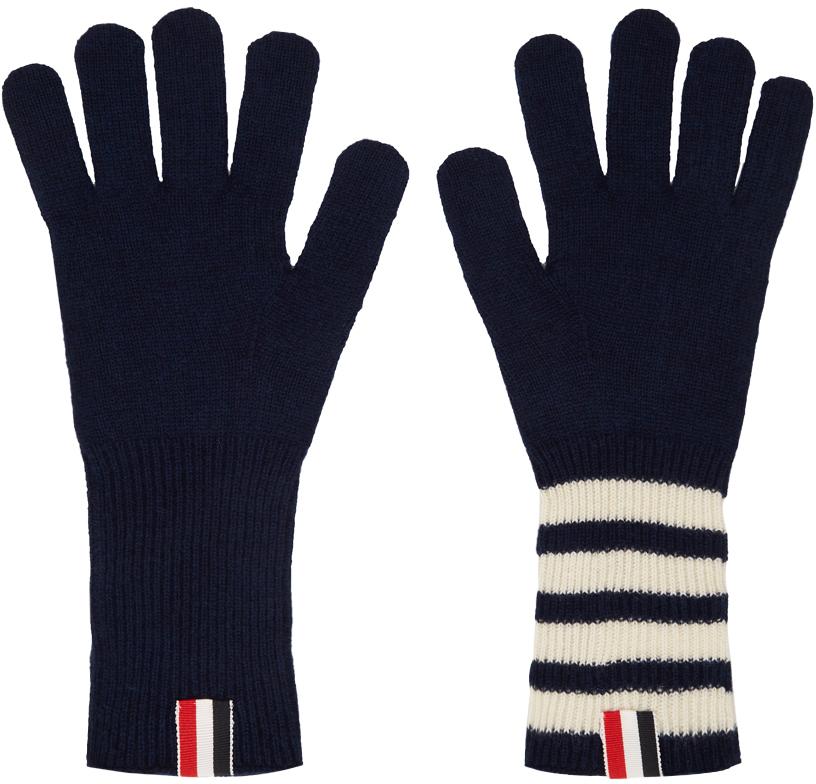 Navy 4-Bar Stripe Rib Gloves