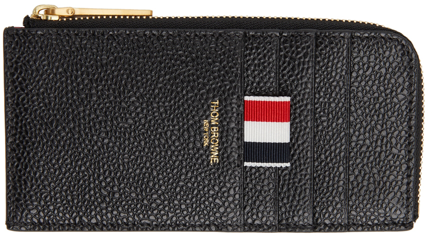 Black Half Zip-Around Card Holder