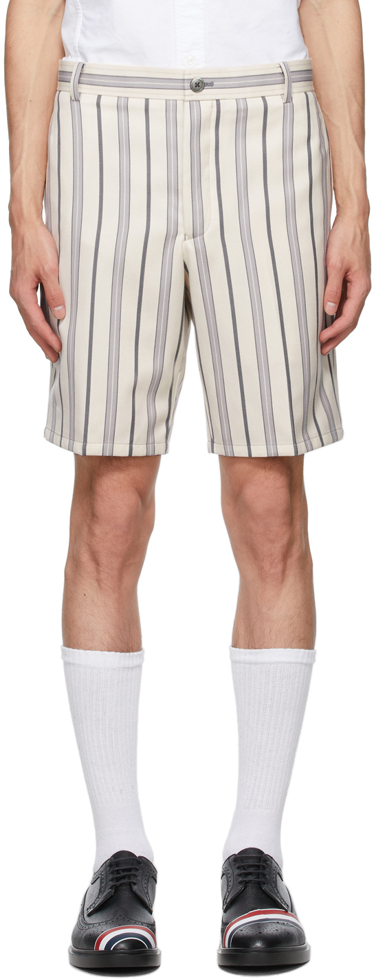 Thom Browne Off-white Striped Wool Shorts In 035 Med Gre