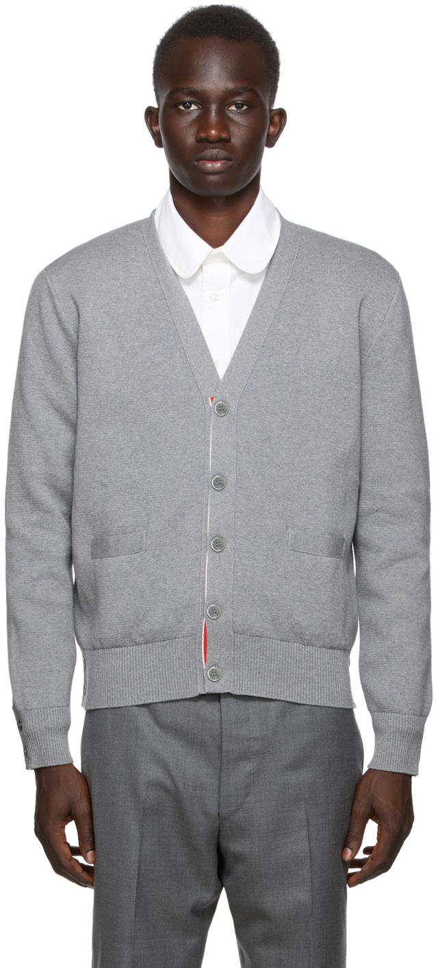 Thom Browne SSENSE 独家线上发售灰色嵌花开衫
