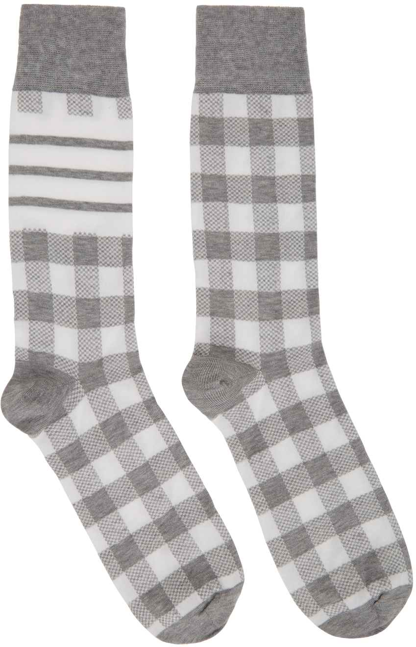 Grey & White Gingham Jacquard 4-Bar Socks