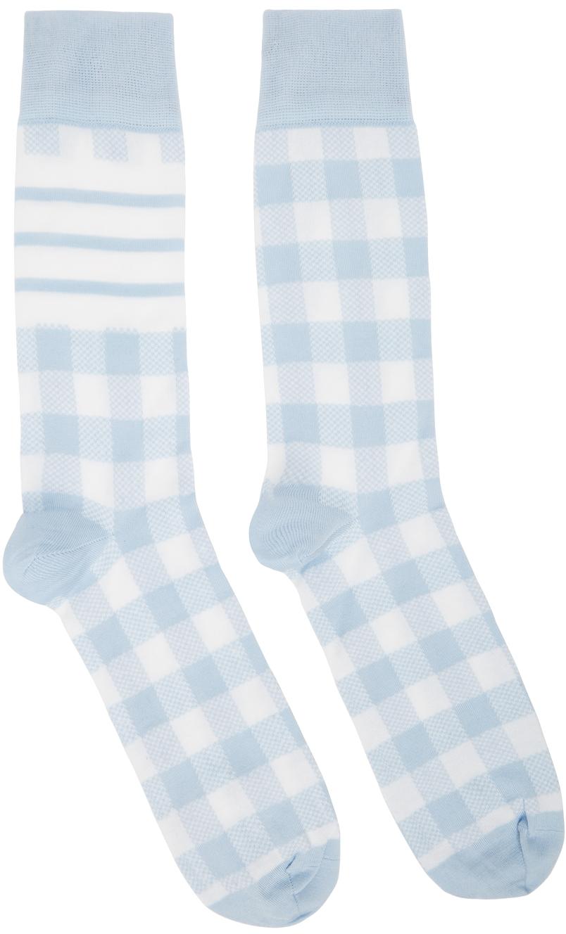 Blue & White Gingham Jacquard 4-Bar Socks