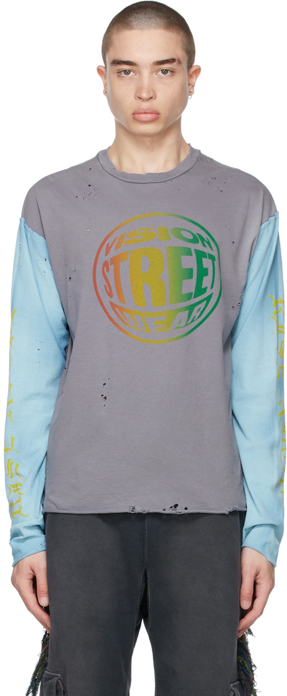 Grey & Blue Vision Streetwear Edition No Summer Long Sleeve T-Shirt