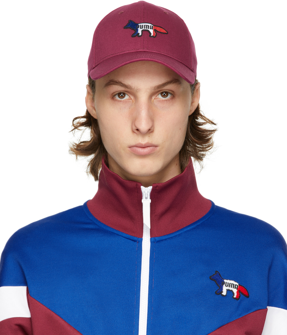 Maison Kitsuné 酒红色 Puma 联名徽标棒球帽