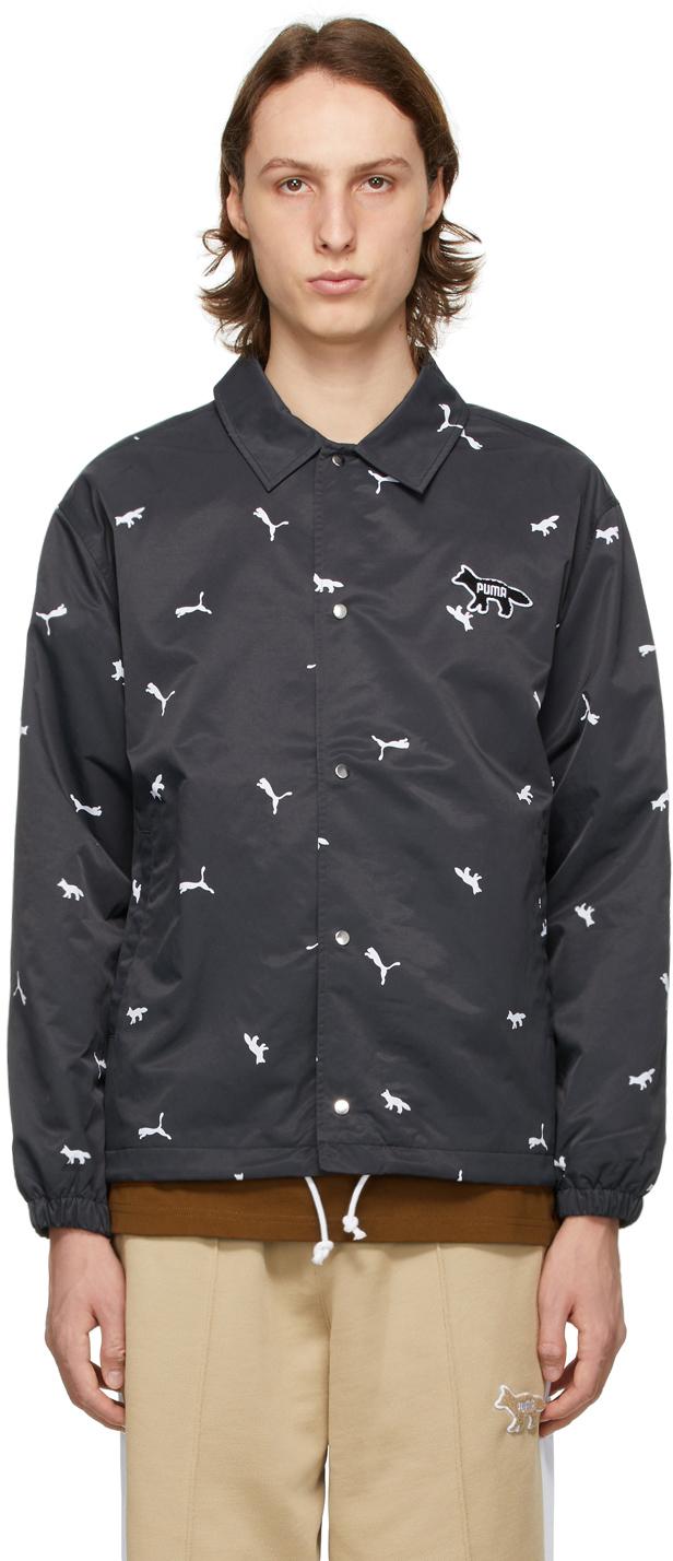 Maison Kitsuné SSENSE Exclusive Black Puma Edition All Over Coach Jacket