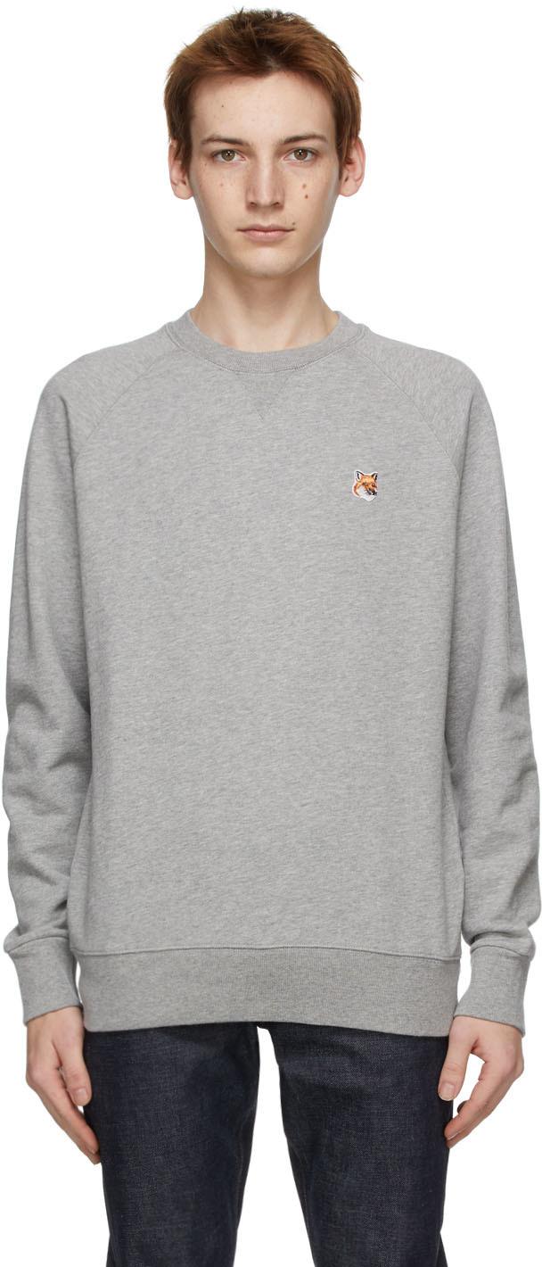 Maison Kitsuné 灰色 Fox Head Patch Classic 套头衫