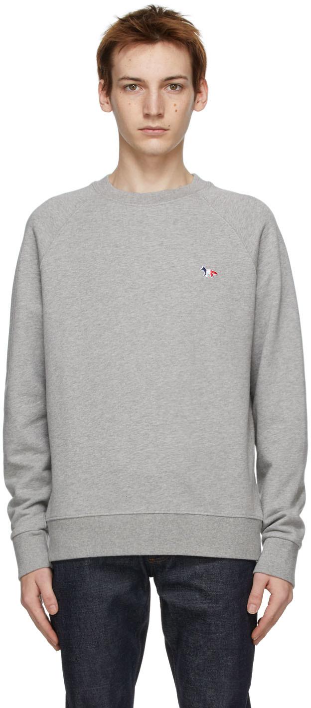 Maison Kitsuné 灰色 Tricolor Fox Patch 套头衫