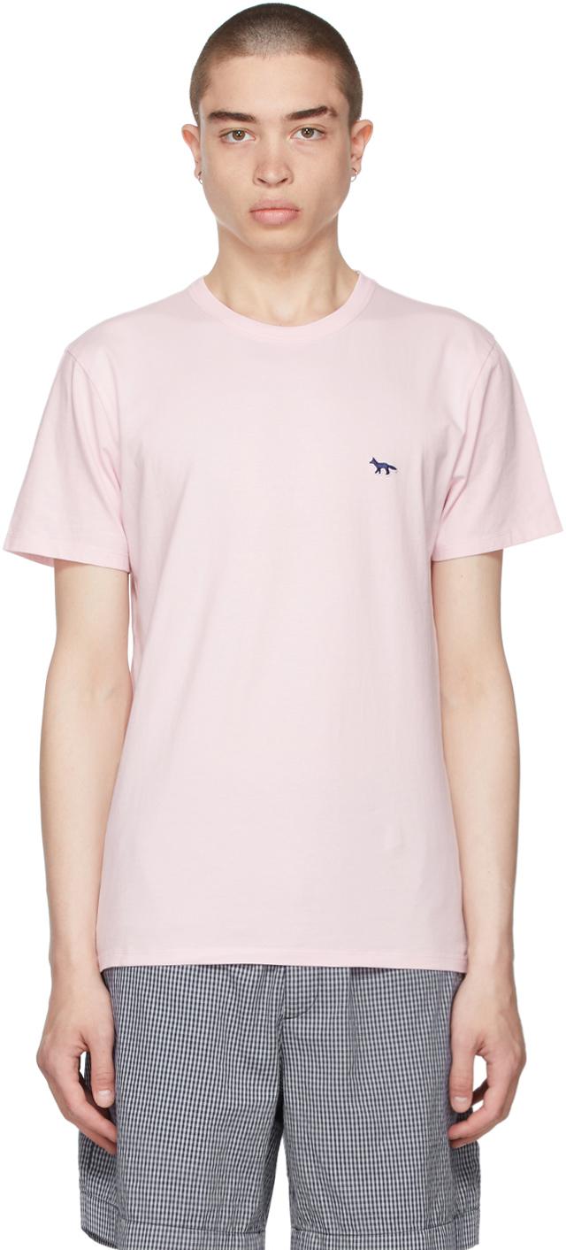 Maison Kitsuné Pink & Navy Fox Patch Classic T-Shirt