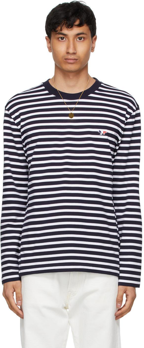 Maison Kitsuné 海军蓝 & 白色 Tricolor Fox Patch Marin 长袖 T 恤