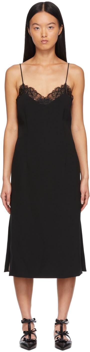 Black Silk Mid-Length Dress