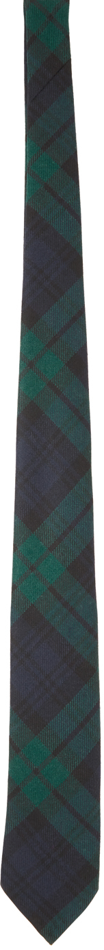 BEAMS PLUS 绿色 & 海军蓝苏格兰格纹羊毛领带