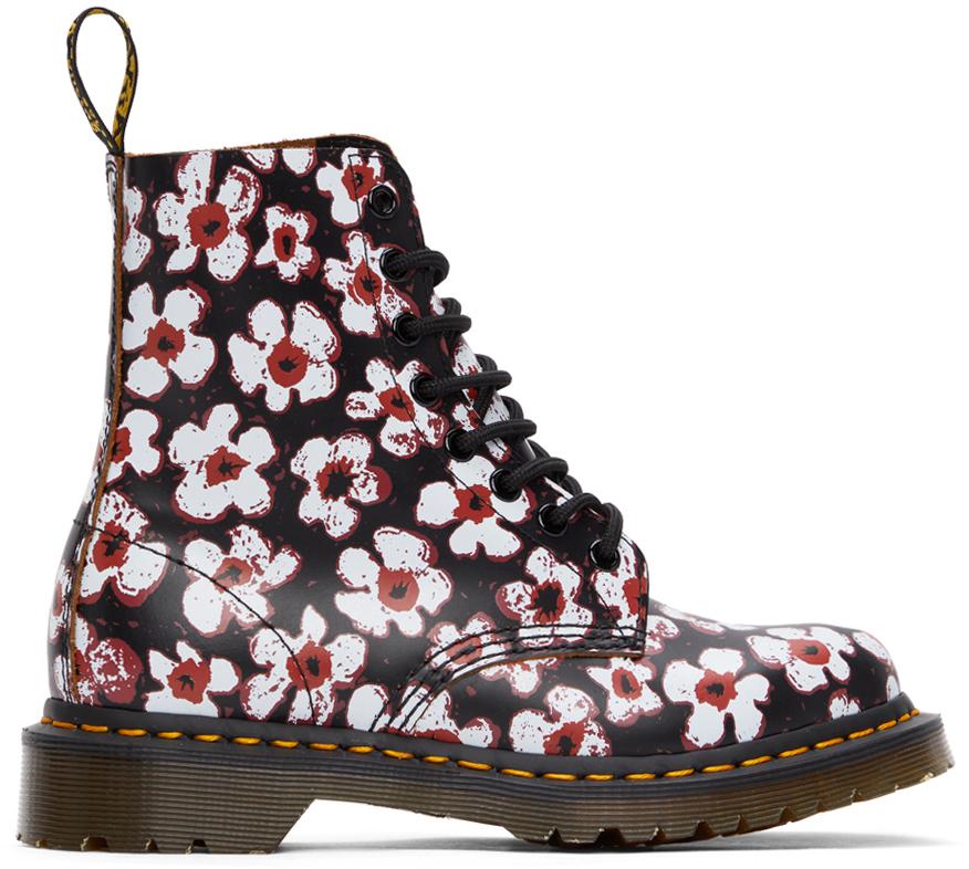 Dr. Martens 黑色 1460 Pascal Floral 踝靴