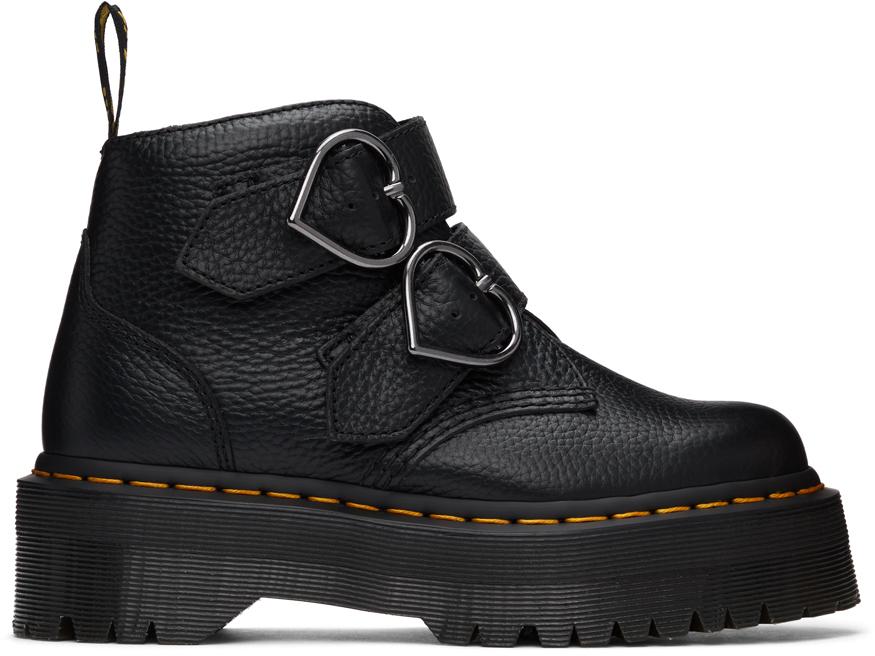 Dr. Martens 黑色 Devon Heart Platform 踝靴