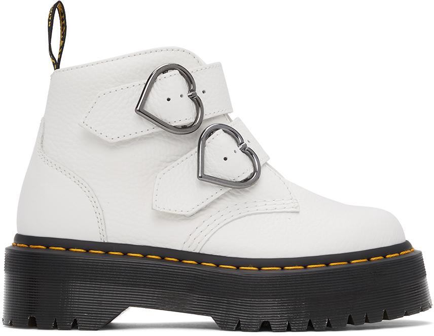 Dr. Martens 白色 Devon Heart Platform 踝靴