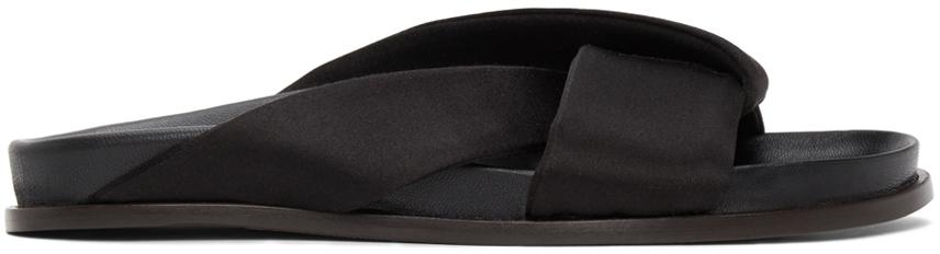 Black Satin Folded Slides