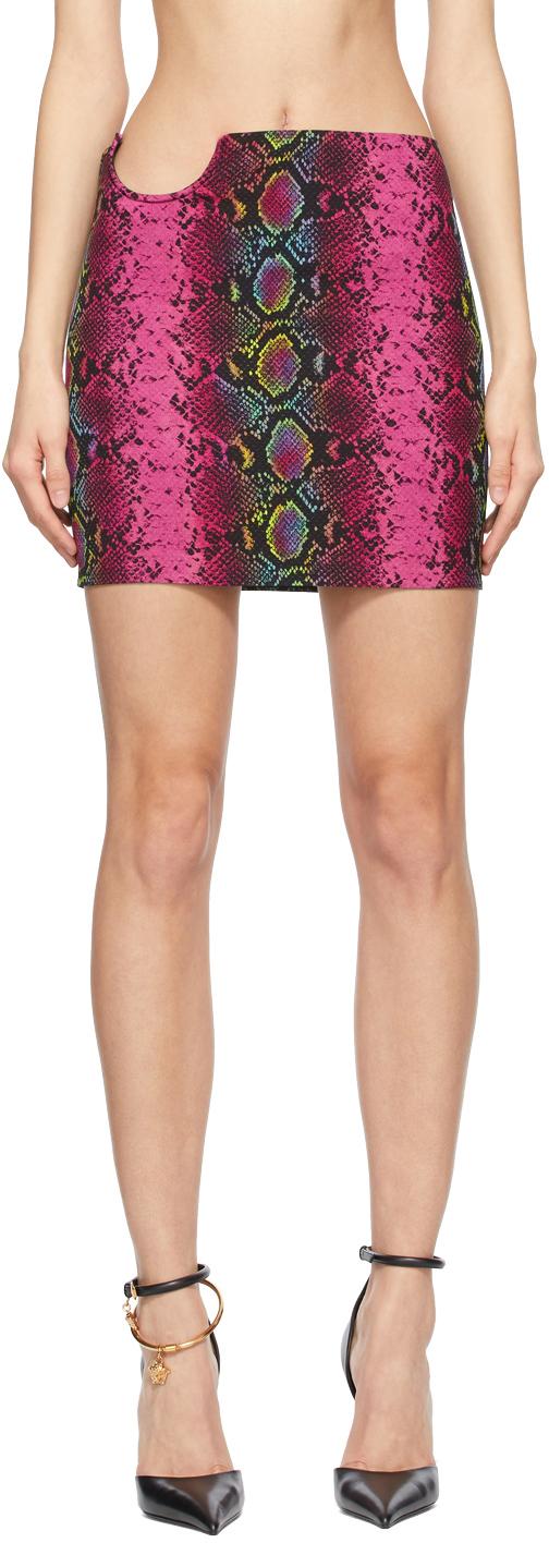Versace 粉色蛇纹短裙