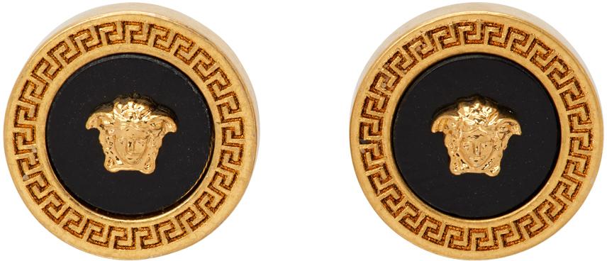 Gold & Black Small Enamel Medusa Earrings