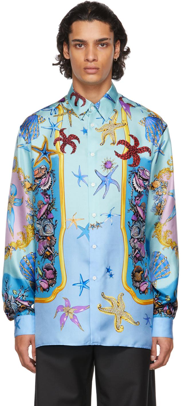 Versace Blue Silk Trésor De La Mer Shirt