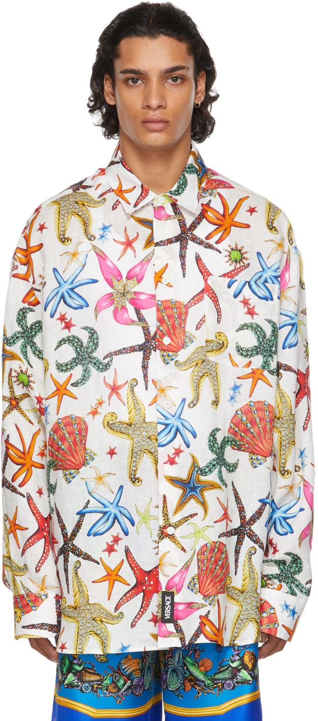 Versace White Linen Trésor De La Mer Shirt