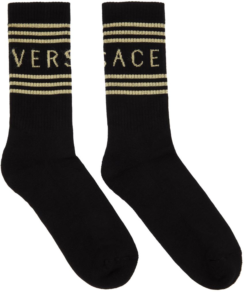 Black & Off-White 1990s Logo Socks