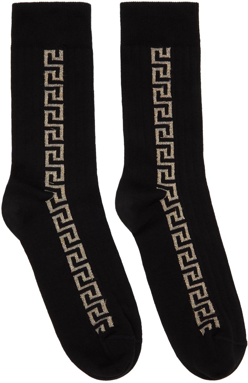 Black & Gold Greca Socks