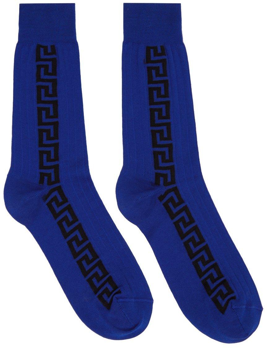 Blue & Black Jacquard Greca Socks