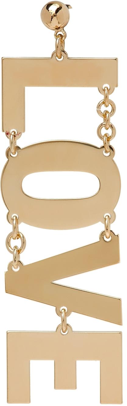 Gold 'Love' Single Earring