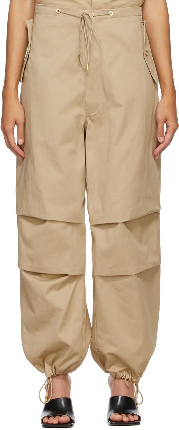 Tan Cotton Parachute Trousers