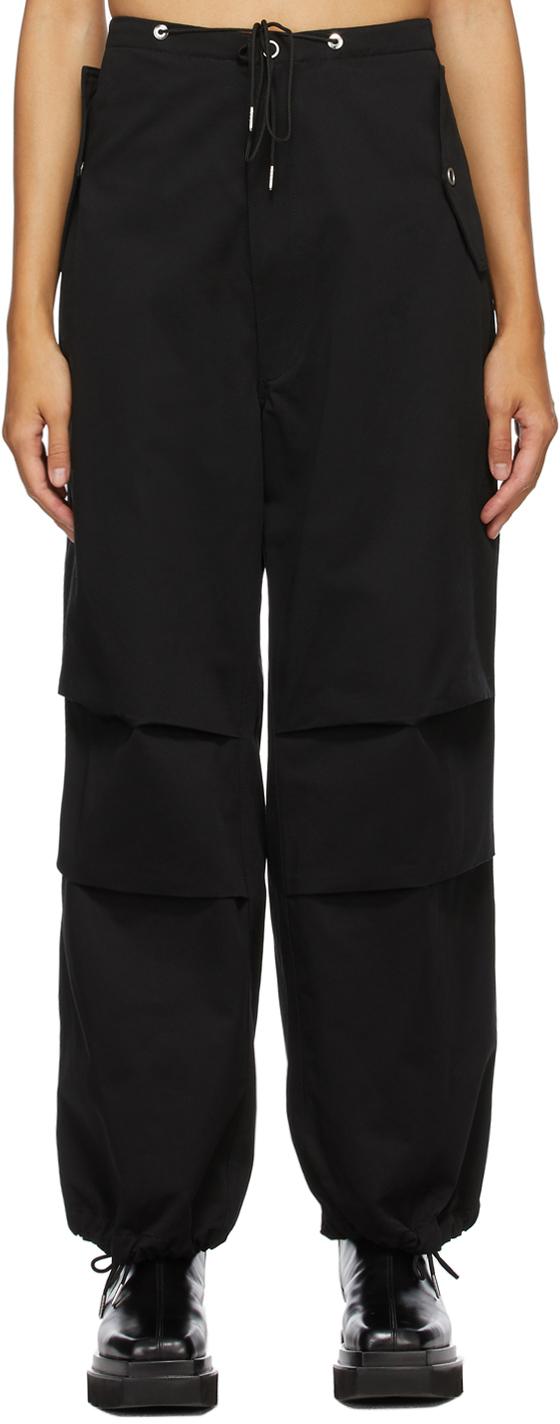 Black Cotton Parachute Trousers