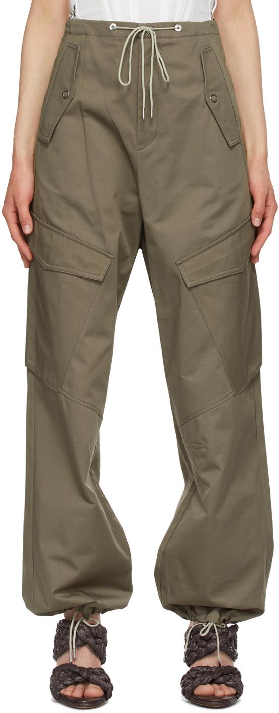 Khaki Parachute Cargo Trousers