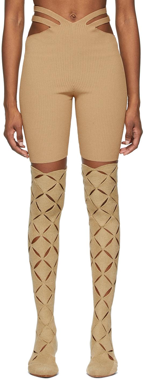 Beige Lustrate Fork Shorts