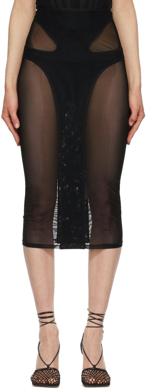 Black Powertulle Paneled Skirt