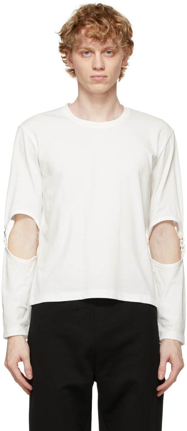 White Rib Hook Long Sleeve T-Shirt