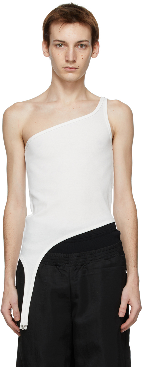 White Shoulder Hook Tank Top