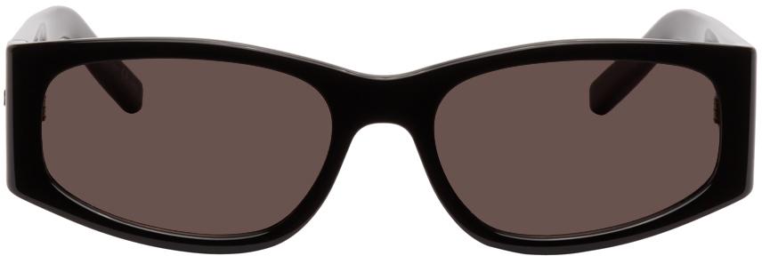 Saint Laurent Black Sl 329 Rectangular Sunglasses In 001 Black