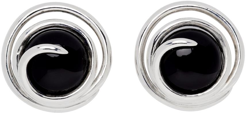 Sapir Bachar 银色 Oynx Spiral 耳钉