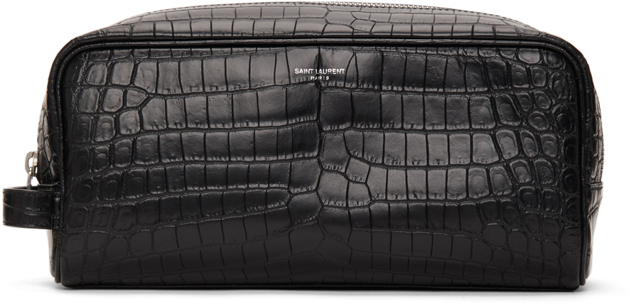 Black Croc Grooming Pouch